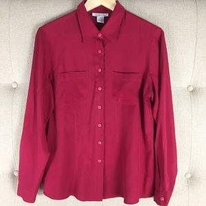 Anna And Frank 100% Silk Red Blouse Shirt